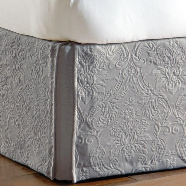 Sandrine Matelasse Cotton Bed Skirt Color: Dove, Size: King