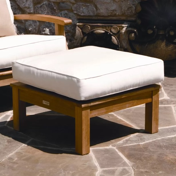 Monterey Outdoor Teak Ottoman with Sunbrella Cushion Fabric: Hot Pink
