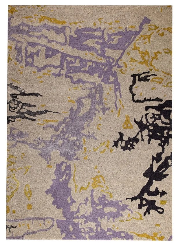 Mistral Hand-Tufted Gray/Gold Area Rug Rug Size: 7'10