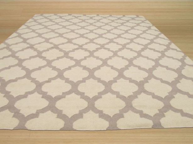 Hand-Woven Gray/Ivory Wool Area Rug Rug Size: Rectangle 10' x 14'