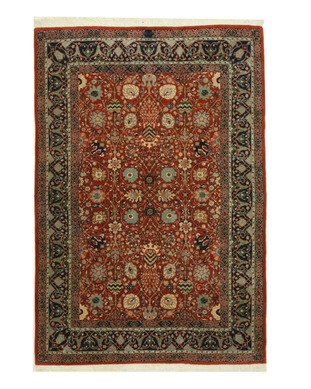 Indo-Moghul Hand-Knotted Rust Area Rug
