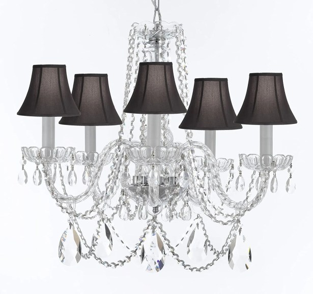 Bosco Traditional 5-Light Shaded Chandelier Shade Color: Black