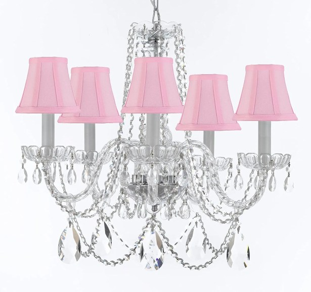 Bosco 5-Light Fabric Shade Shaded Chandelier Shade Color: Pink