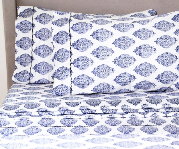 Kay 400 Thread Count 100% Cotton Sheet Set Size: King, Color: Navy