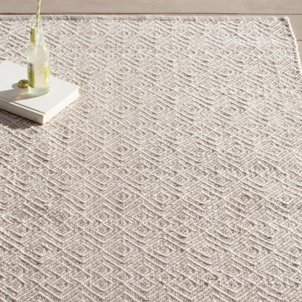 Annabelle Hand-Woven Grey/Ivory Indoor/Outdoor Area Rug Rug Size: Rectangle 2' x 3'