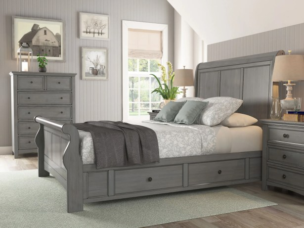 Sefton Storage Sleigh Bed Color: Antique Gray, Size: King