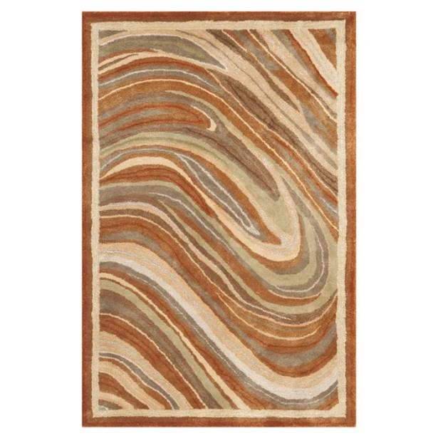 Martha Stewart Marble Swirl Oct Leaf Red Geometric Area Rug Rug Size: Rectangle 8'6