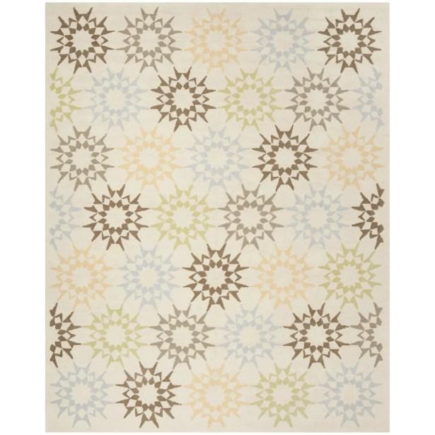 Martha Stewart Hand-Hooked Cotton Creme Area Rug Rug Size: Rectangle 7'9