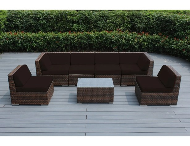 7 Piece Sectional Seating Group with Cushions Cushion Color: Brown, Frame Finish: Mixed Brown