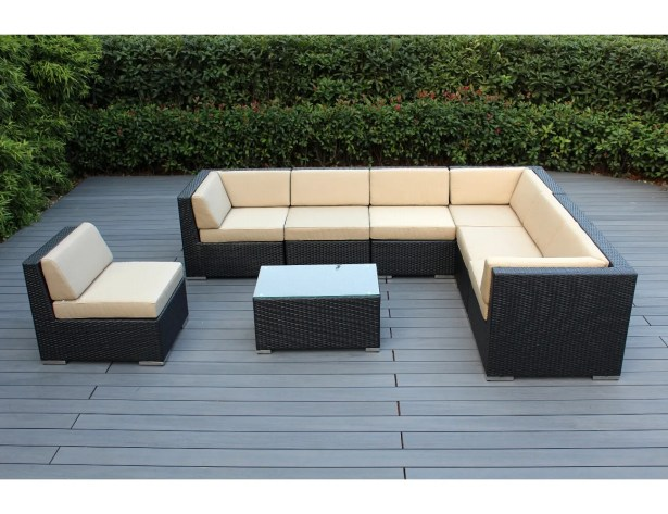 Baril 8 Piece Rattan Sectional Set with Cushions Fabric: Dark Gray, Frame Color: Mixed Brown