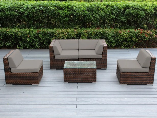 Baril 5 Piece Sectional Set with Cushions Color: Mixed Brown, Fabric: Sunbrella Taupe