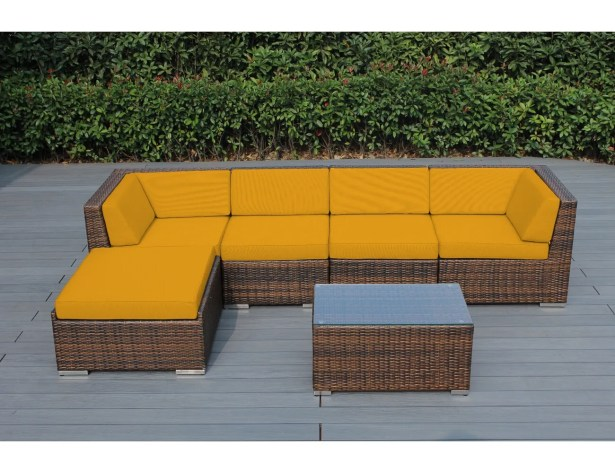 Baril 6 Piece Sectional Set with Cushions Frame Finish: Mixed Brown, Cushion Color: Sunbrella Sunflower Yellow