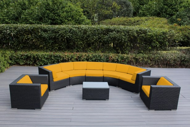 Popham 8 Piece Rattan Sunbrella Sectional Set with Cushions Cushion Color: Sunflower Yellow