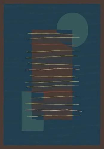 Pastiche Horizon Blue/Dark Brown Rug Rug Size: Oval 5'4