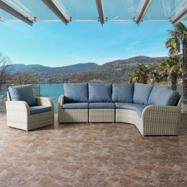 Killingworth 5 Piece Sectional Set with Cushions Fabric: Blue
