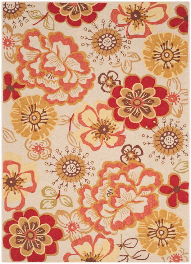 Josephine Hand-Hooked Ivory / Red Area Rug Rug Size: Rectangle 5' x 7'