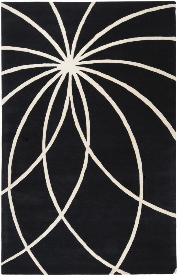 Dewald Black/Ivory Area Rug Rug Size: Rectangle 8' x 11'