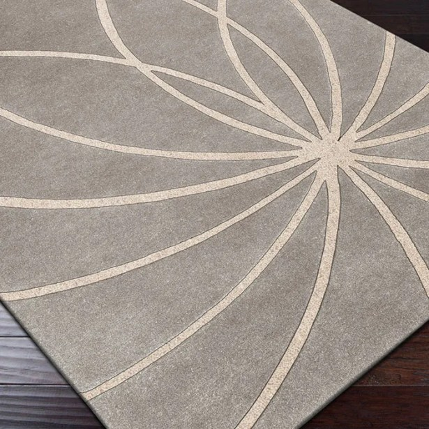 Dewald Hand Woven Wool Gray/Cream Area Rug Rug Size: Round 9'9