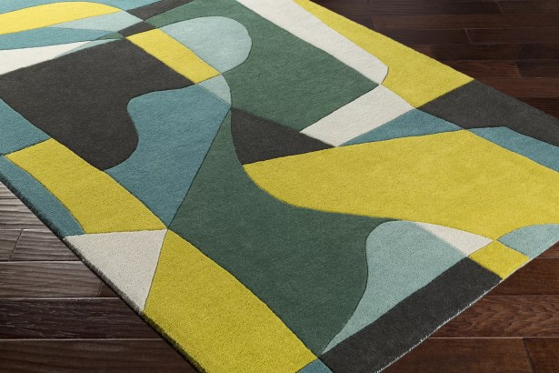 Dewald Hand-Tufted Green/Yellow Area Rug Rug Size: Square 6'