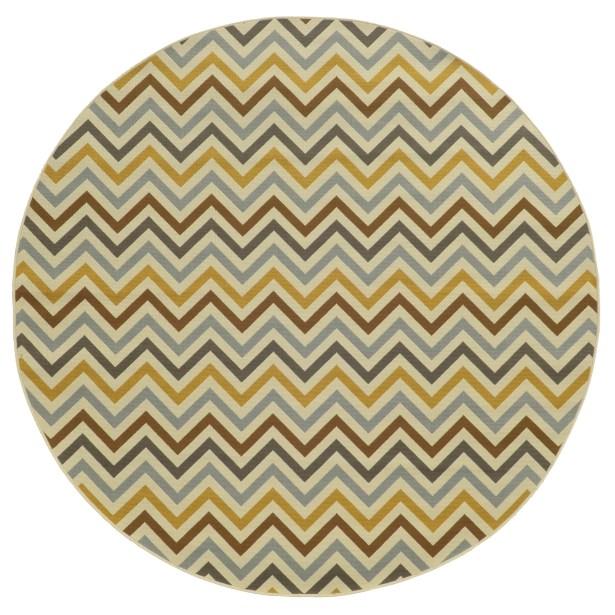 Heath Gray/Gold Indoor/Outdoor Area Rug Rug Size: Round 7'10