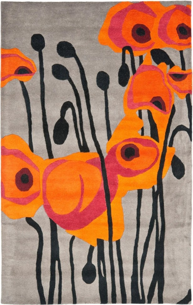 Armstrong Grey / Orange Contemporary Rug Rug Size: Square 6'