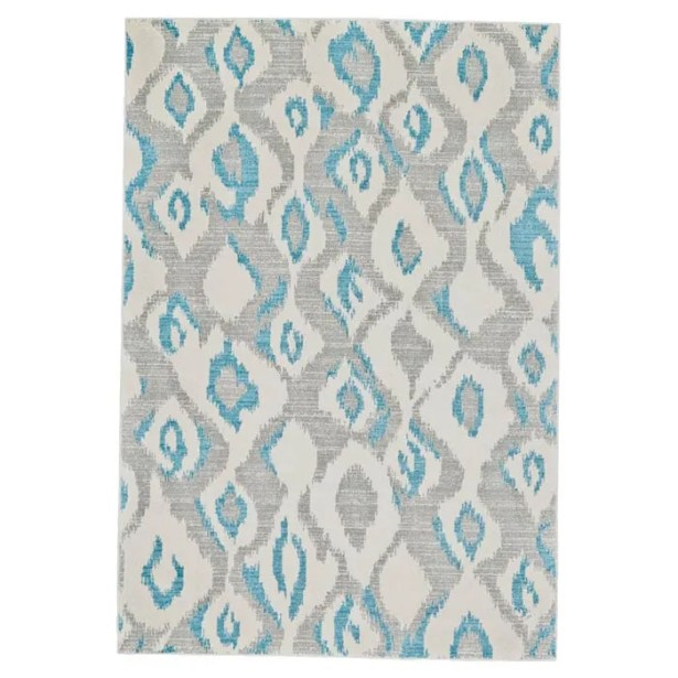 Arely Gray/Blue Area Rug Rug Size: Rectangle 2'10