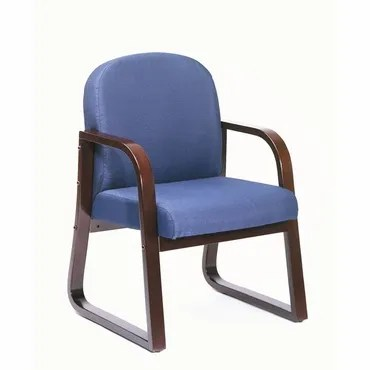 Kathi Reception Arm Chair Fabric: Blue, Finish: Mahogany