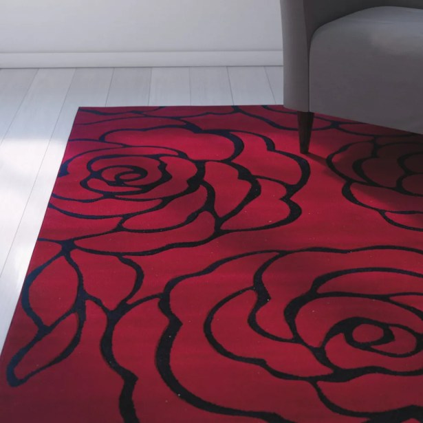 Carina Red/Black Area Rug Rug Size: Rectangle 5' x 7'7