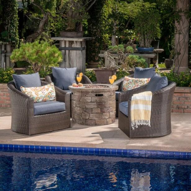 Paxson 5 Piece Rattan Conversation Set with Cushions