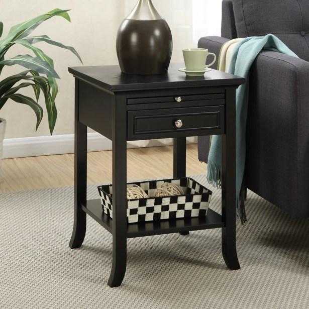 End Table With Storage Table Top Color: Espresso, Table Base Color: Espresso