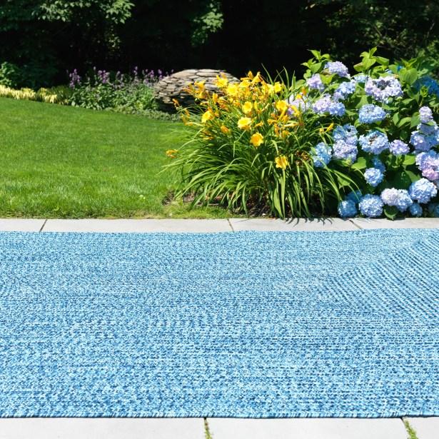 Hawkins Blue Wave Indoor/Outdoor Area Rug Rug Size: Square 10'