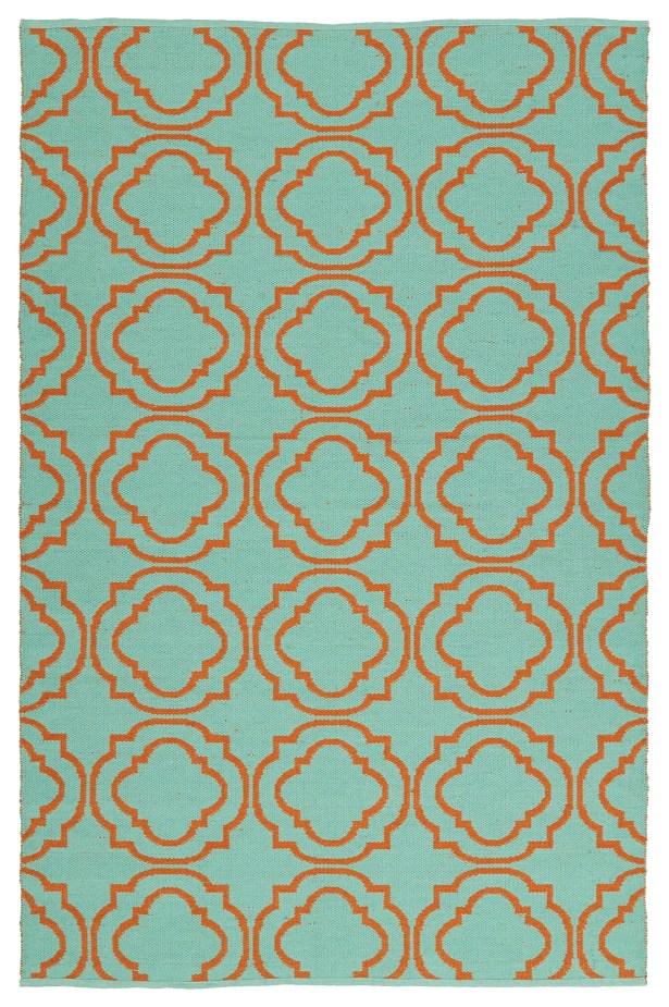 Tyesha Teal/Orange Indoor/Outdoor Area Rug Rug Size: Rectangle 5' x 7'6