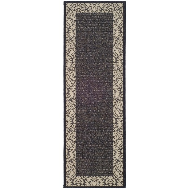 Short Black / Sand Outdoor Area Rug Rug Size: Runner 2'3