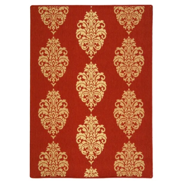 Short Red/Natural Outdoor Rug Rug Size: Rectangle 2' x 3'7