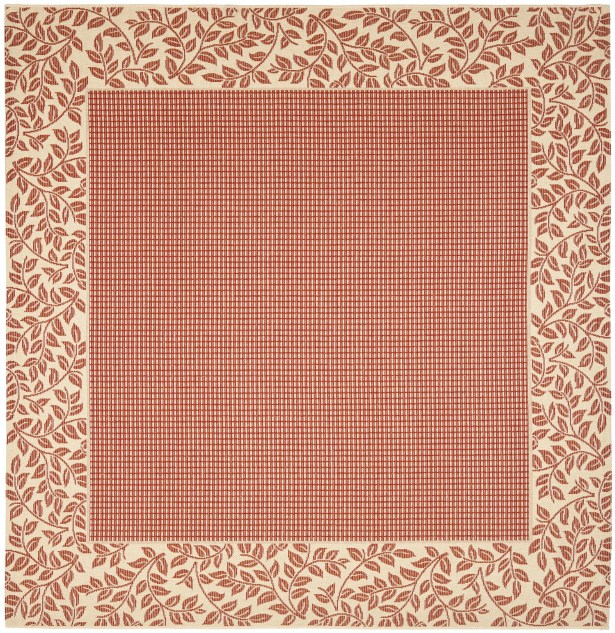 Short Woven Red / Natural Indoor/Outdoor Rug Rug Size: Square 7'10