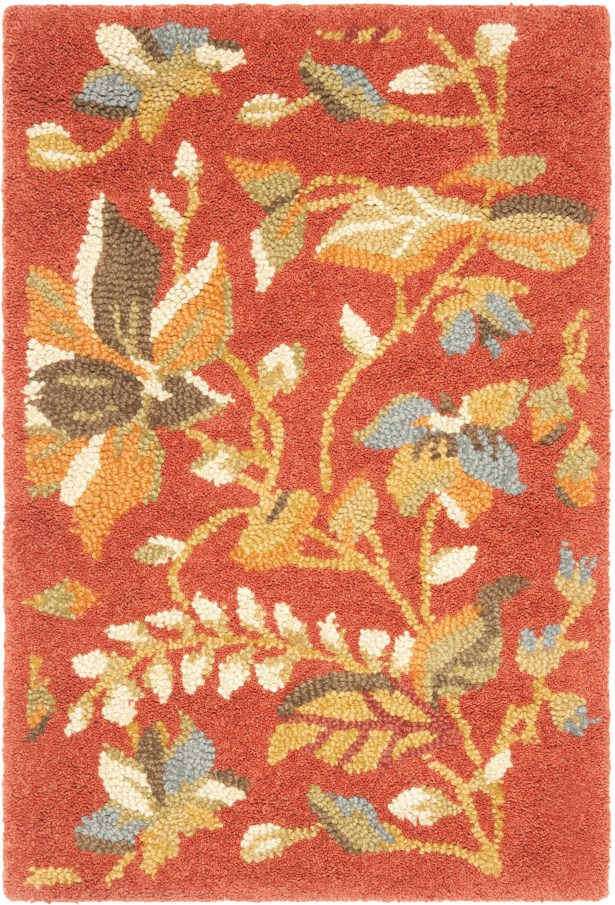 Donoghue Hand-Hooked Wool Rust Area Rug Rug Size: Rectangle 3' x 5'