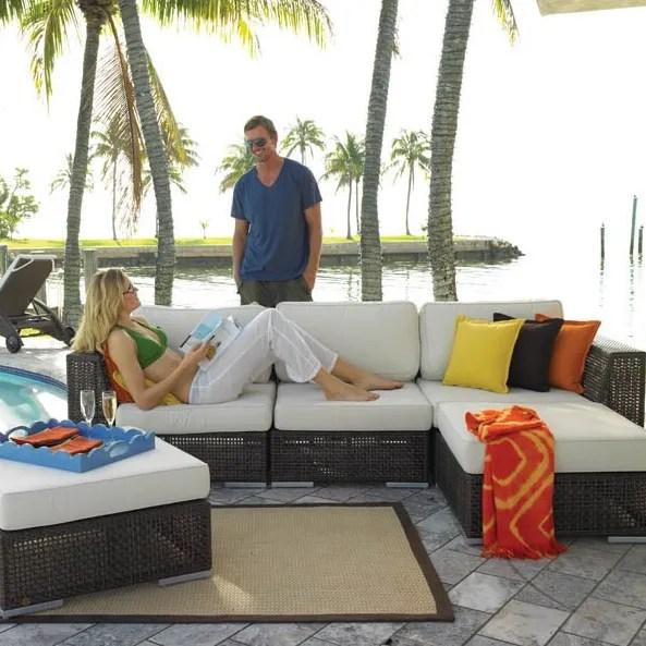 Soho 5 Piece Sectional Seating Group with Sunbrella Cushions Fabric: Blox Slate