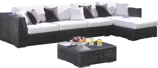 Soho 6 Piece Sectional Seating Group with Sunbrella Cushions Fabric: Linen Silver