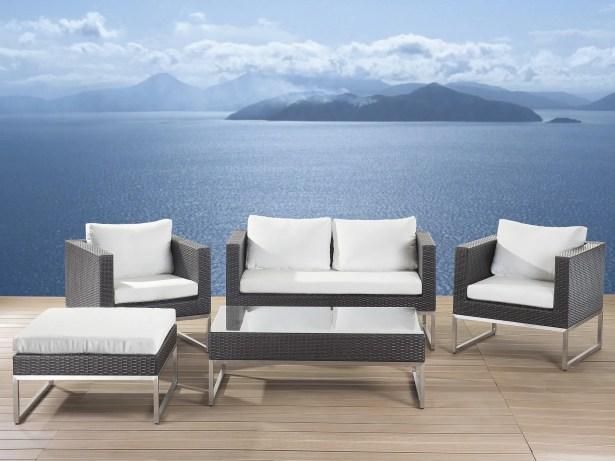 5 Piece Rattan Sofa Set with Cushions