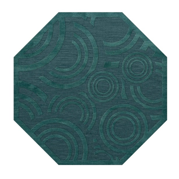 Dover Tufted Wool Teal Area Rug Rug Size: Octagon 4'
