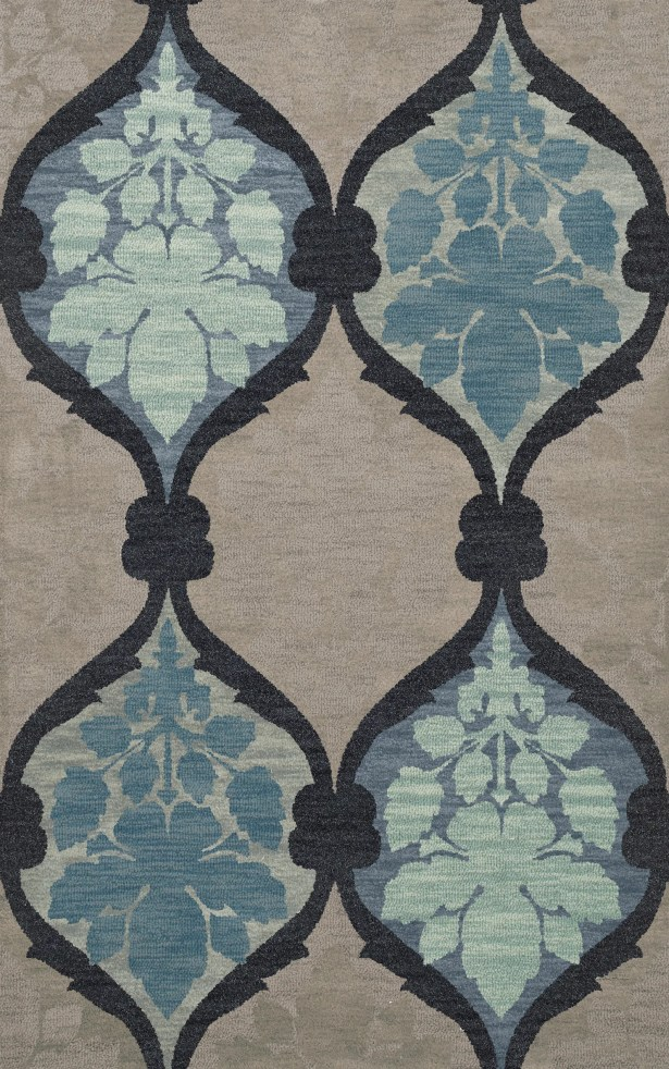 Bella Machine Woven Wool Gray/Blue Area Rug Rug Size: Rectangle 3' x 5'