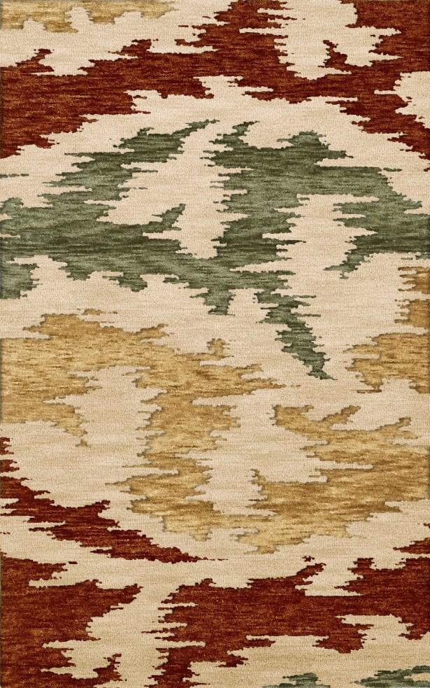 Bella Machine Woven Wool Brown/Green/Beige Area Rug Rug Size: Oval 4' x 6'