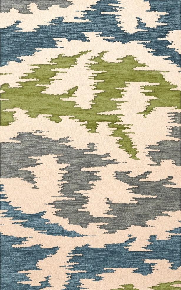 Bella Machine Woven Wool Gray/Blue/Green Area Rug Rug Size: Round 12'