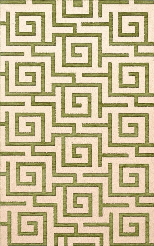 Bella Machine Woven Wool Beige/Green Area Rug Rug Size: Oval 10' x 14'