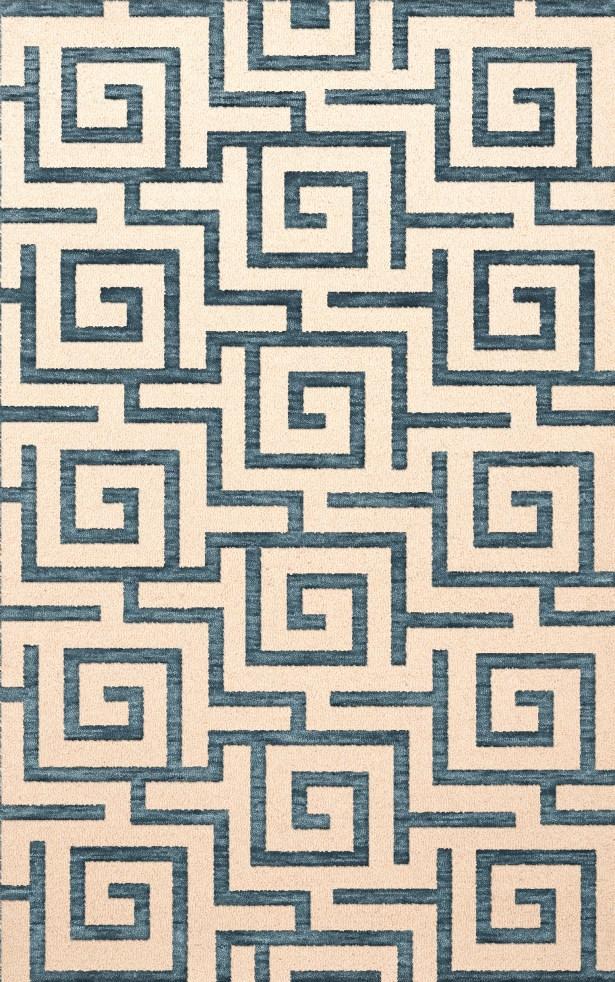 Bella Machine Woven Wool Beige/Blue Area Rug Rug Size: Oval 12' x 15'