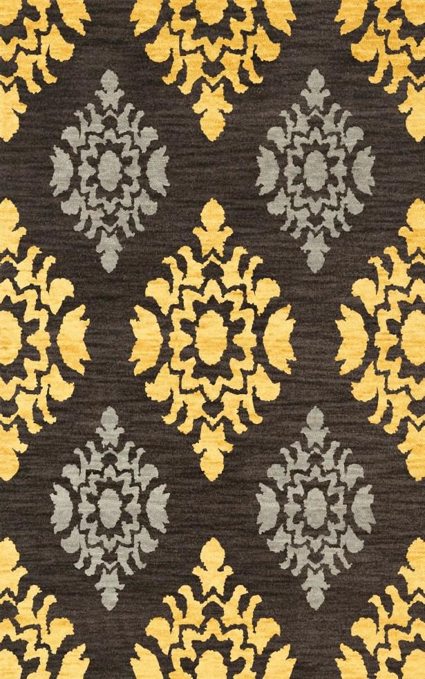 Bella Machine Woven Wool Black/Yellow Area Rug Rug Size: Rectangle 8' x 10'