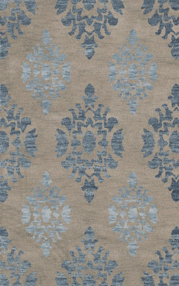 Bella Machine Woven Wool Gray/Blue Area Rug Rug Size: Square 6'