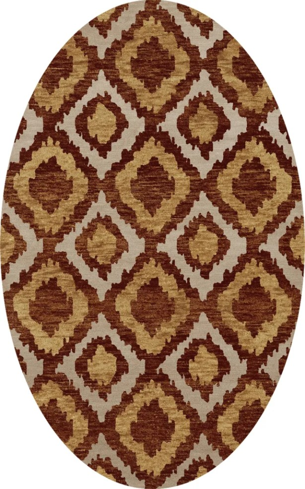 Bella Machine Woven Wool Brown/Beige Area Rug Rug Size: Oval 6' x 9'