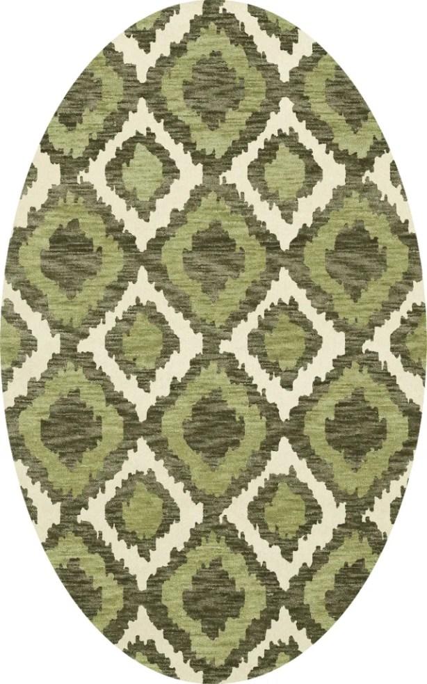 Bella Machine Woven Wool Green Area Rug Rug Size: Oval 8' x 10'