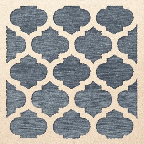 Bella Machine Woven Wool Blue/Beige Area Rug Rug Size: Square 10'